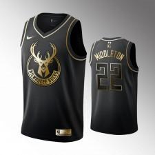 Milwaukee Bucks Khris Middleton Noir Golden Éd Maillot