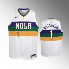 Enfants 2019-20 New Orleans Pelicans Zion Williamson City Blanc Maillot