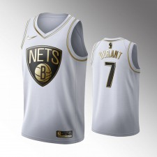 Brooklyn Nets Kevin Durant Blanc 2019-20 Maillot Golden Édition