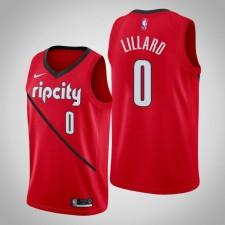 Hommes NBA Damian Lillard Portland Trail Blazers Earned Edition Rouge Swingman Mailot
