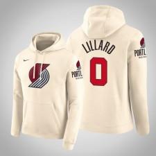 Portland Trail Blazers Damian Lillard City Crème 2020 Saison Pull Capuche