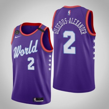 Oklahoma City Thunder Shai Gilgeous-Alexander 2020 NBA Rising Star World Team Violet Maillot