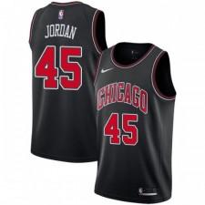 Nike Chicago Bulls Swingman Noir Michael Jordan 45 Maillot - Édition Déclaration