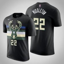 Milwaukee Bucks Khris Middleton Déclaration Noir 2020 Nom de saison - Numéro T-Chemise