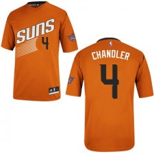 NBA Tyson Chandler Authentic Men's Orange Jersey - Adidas Phoenix Suns &4 Alternate