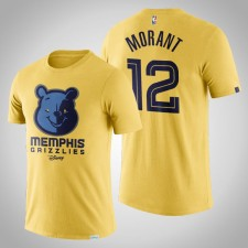 Grizzlies Ja Morant Disney X NBA Mascot Crossover 2020 Postseason T-Chemise Jaune
