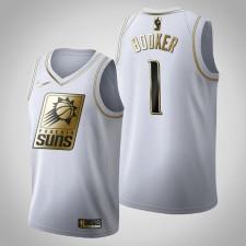 Phoenix Suns Devin Booker Golden Édition Blanc Maillot