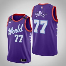 Dallas Mavericks Luka Doncic 2020 NBA Rising Star Monde Équipe Violet Maillot