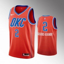 Oklahoma City Thunder Shai Gilgeous-Alexander 2019-20 Déclaration Orange Maillot