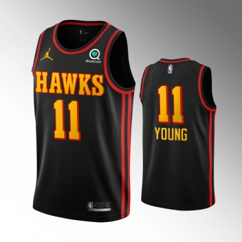 Hommes Atlanta Hawks Trae Young Classique Noir Maillot