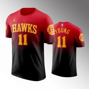 Atlanta Hawks Trae Young Déclaration Noir Rouge Nouvelle Saison Gradient Hommes T-Chemise