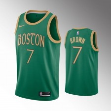 Hommes Boston Celtics Jaylen Brown Vert Maillot - Ville