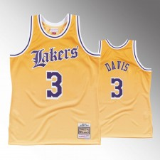 Hommes Los Angeles Lakers 1984-85 Anthony Davis Maillot jaune faded - Vieux Anglais