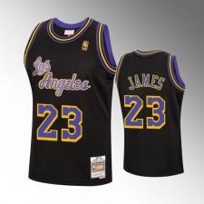 Hommes Los Angeles Lakers 1996-97 LeBron James Recharger Noir Hardwood Classiques Maillot