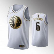 Dallas Mavericks Kristaps Porzingis Blanc Golden Edition Maillot