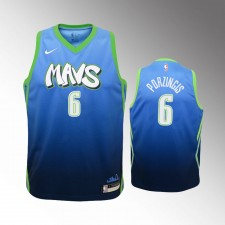 Enfants Dallas Mavericks  Kristaps Porzingis City Bleu Maillot