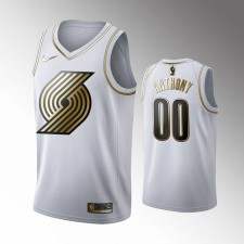 Hommes Portland Trail Blazers Carmelo Anthony Golden Edition Blanc Limitée Maillot