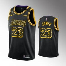 Les Los Angeles Lakers LeBron James City Noir Honorent le maillot authentique kobe