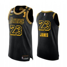 Los Angeles Lakers 2020 NBA Finals Champions LeBron James Noir Mamba Authentique Maillot Justice sociale