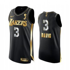 Los Angeles Lakers 17X Champions de la finale de la NBA Anthony Davis Noir Authentique Golden Maillot Justice sociale