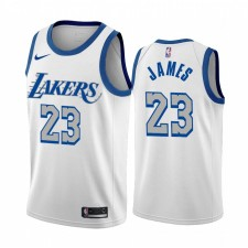 LeBron James Los Angeles Lakers Blanc City Édition New Bleu Silver Logo 2020-21 Maillot