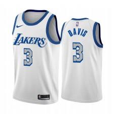 Anthony Davis Los Angeles Lakers Blanc City Edition New Bleu Silver Logo 2020-21 Maillot