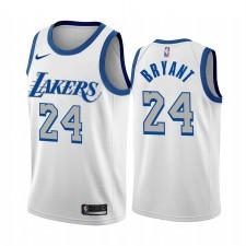 Kobe Bryant Los Angeles Lakers Blanc City Édition Nouveau Bleu Silver Logo 2020-21 Maillot
