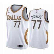 Luka Doncic Dallas Mavericks Blanc City Edition Or logo argent 2020-21 Maillot