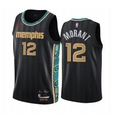 Ja Morant Memphis Grizzlies 2020-21 Noir Ville Maillot Nouvel Uniforme