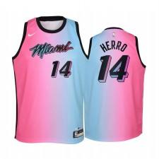 Miami Heat Tyler Herro 2020-21 Ville Bleu Pink Maillot Enfants