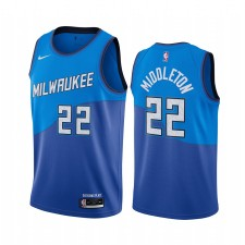 Khris Middleton Milwaukee Bucks Navy City Édition Nouvel uniforme 2020-21 Maillot