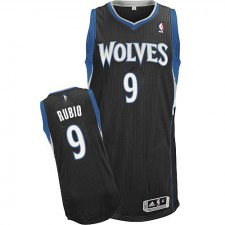 NBA Ricky Rubio Authentic Men's Black Jersey - Adidas Minnesota Timberwolves &9 Alternate
