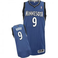 NBA Ricky Rubio Authentic Men's Slate Blue Jersey - Adidas Minnesota Timberwolves &9 Road