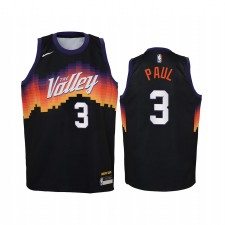 Chris Paul Phoenix Suns 2020-21 Ville Édition Enfants Maillot - Noir
