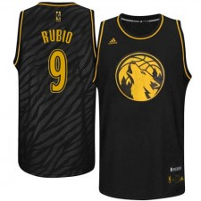 NBA Ricky Rubio Authentic Men's Black Jersey - Adidas Minnesota Timberwolves &9 Precious Metals Fashion