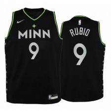 Minnesota Timberwolves Ricky Rubio 2020-21 City Noir Enfants Maillot