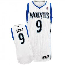 NBA Ricky Rubio Authentic Men's White Jersey - Adidas Minnesota Timberwolves &9 Home