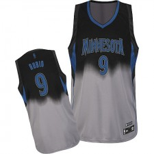 NBA Ricky Rubio Authentic Men's Black/Grey Jersey - Adidas Minnesota Timberwolves &9 Fadeaway Fashion