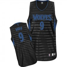 NBA Ricky Rubio Authentic Men's Black/Grey Jersey - Adidas Minnesota Timberwolves &9 Groove