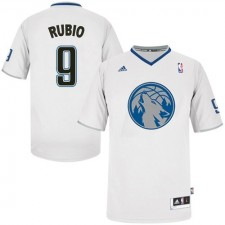 NBA Ricky Rubio Authentic Men's White Jersey - Adidas Minnesota Timberwolves &9 2013 Christmas Day