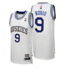 NBA Ricky Rubio Authentic Men's White Jersey - Adidas Minnesota Timberwolves &9 ABA Hardwood Classic