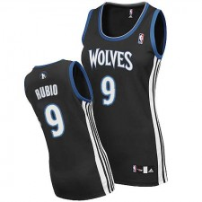 NBA Ricky Rubio Authentic Women's Black Jersey - Adidas Minnesota Timberwolves &9 Alternate