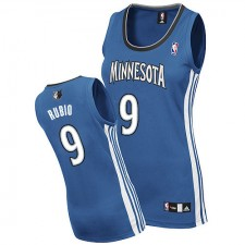 NBA Ricky Rubio Authentic Women's Slate Blue Jersey - Adidas Minnesota Timberwolves &9 Road