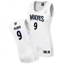 NBA Ricky Rubio Authentic Women's White Jersey - Adidas Minnesota Timberwolves &9 Home