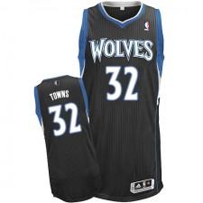 NBA Karl-Anthony Towns Authentic Men's Black Jersey - Adidas Minnesota Timberwolves &32 Alternate