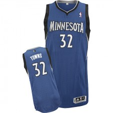 NBA Karl-Anthony Towns Authentic Men's Slate Blue Jersey - Adidas Minnesota Timberwolves &32 Road