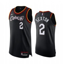 Collin Sexton Cleveland Cavaliers Noir 2021 Ville authentique Maillot Long Live Rock
