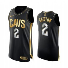Cavaliers Collin Sexton 2021 Noir Golden Edition Carrière-High 42 Points Maillot