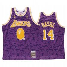 Marc Gasol & 14 Los Angeles Lakers Bape Purple X Mitchell Ness Maillot
