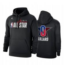 All-Star 2021 Damian Lillard & 0 Conférence Occidentale Logo Officiel de logo Noir Sweat à capuche